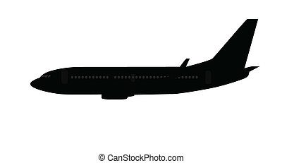 Single medium size aircraft silhouette
