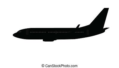 Single medium size aircraft silhouette