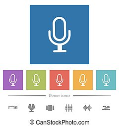 Single microphone flat white icons in square backgrounds. 6...
