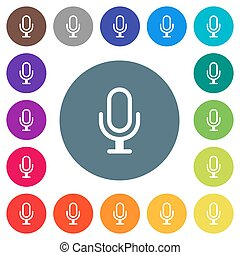 Single microphone flat white icons on round color backgrounds. 17 background color variations are included.