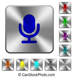 Single microphone rounded square steel buttons