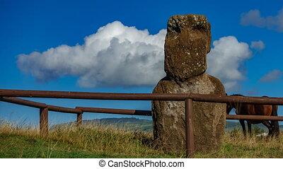 Single moai, cloud and horse time lapse in Rapa Nui