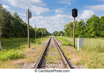 Single modern railroad tracks with traffic lights in the forest