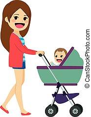 Single Mom Pushing Stroller