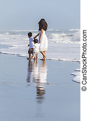Single Mother & Boy Children Family Beach - A family of ...