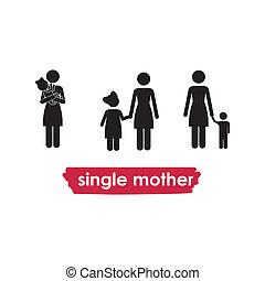 single mother over white background vector illustration