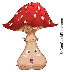 Single mushroom with face