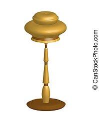 Single object bronze metallic decorative lamp with lampshade.