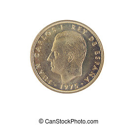 Single old Spanish coins of 100 pesetas showing Juan Carlos I king's face isolated on a white background. 1975