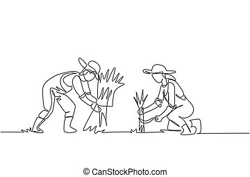 Single one line drawing of couple farmer was harvesting rice and there was also rice that had been tied up. Farming challenge minimal concept. Continuous line draw design graphic vector illustration.