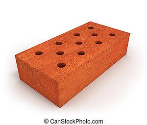 Single orange brick - Single Orange bricks isolated on white...