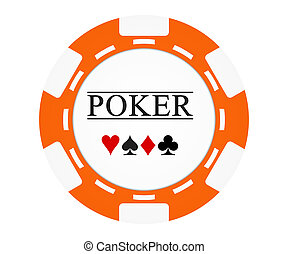 Single orange casino chip isolated on white background