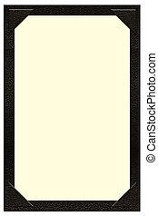 Single Page Menu with pockets - a single page black leather...