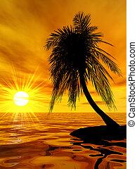 single palm on the uninhabited island on a brightly sunset