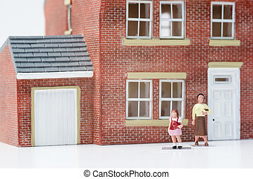 Single parent family concept with model people and house on white background