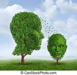 Single parenting family and raising a child as a solo parent social issue concept with two trees shaped as a human adult head representing the mother or father and a small child tree as a symbol of parental guidance and parenthood.