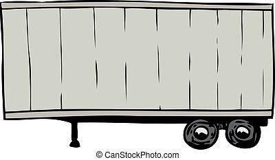 Single parked gray cargo shipping trailer