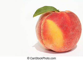 Single peach - Single ripe peach with green leaves on white...