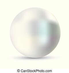 Single pearl vector illustration. Pearl isolated on white backgorund with shadow. 3d natural oyster, pearl, shiny sea pearl.