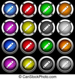 Single pencil with rubber white icons in round glossy buttons on black background