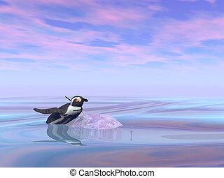 Single penguin climbing on a small iceberg - 3D render