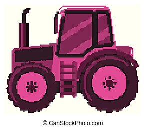 Single picture of pink tractor on white background