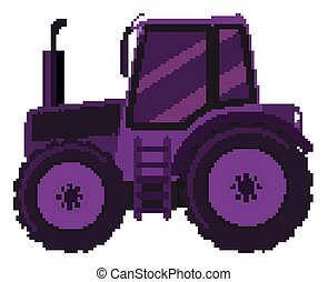 Single picture of purple tractor on white background