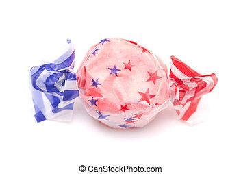 Single Piece of Red Patriotic Salt Water Taffy on a White Background