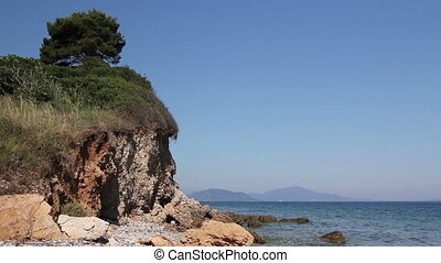 Single pine tree is standing on the top of an eroded cliff