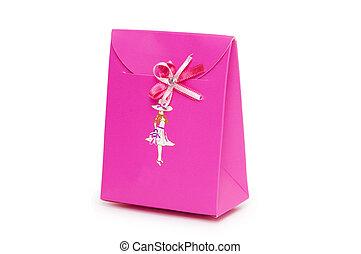 Single pink gift box on white background.