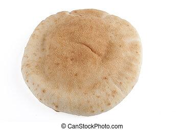 Single Pita - Single israeli flat bread pita isolated on...