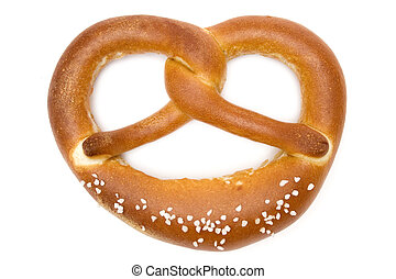 Single Pretzel - Fresh pretzel isolated on a white...