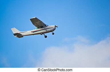 One engine small passanger aircraft taking off at airport