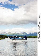 Single Prop Airplane Pontoon Plane Water Landing Alaska Last