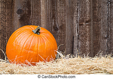 Single Pumpkin On Hay Against Rustic Wooden Background With