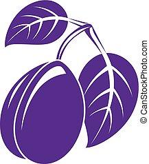 Single purple simple vector plum with leaves, ripe sweet...
