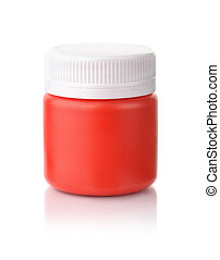 Single red acrylic paint jar