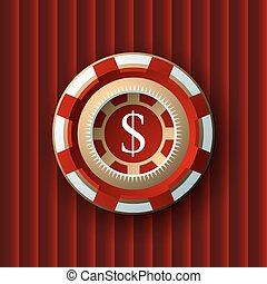 single red and white casino chip isolated on vinous background