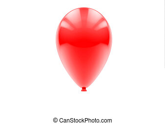single red balloon isolated on a white background