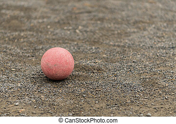 Single Red Bocce Ball Copy Space Right