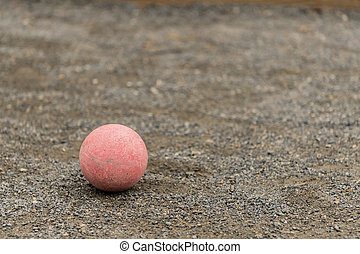 Single Red Bocce Ball Lower Left