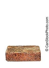 Single red brick on white background