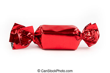 Single red candy isolated - Single red candy wrapped...
