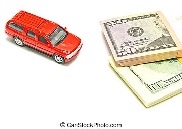 single red car and dollar notes on white