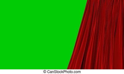 Single Red Curtain Waving in Wind Opening and Closing. Beautiful 3d Animation Abstract Realistic Curtain Revealing Background Green Screen Useful for Transitions. Alpha Mask 4k UHD