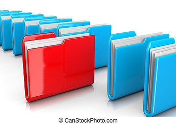 Single Red Document Folder among Many Blue on White Background 3D Illustration, Find Documents Concept