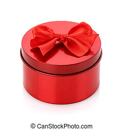 Single red gift box with red ribbon