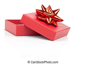 Single red gift box with red ribbon, on white background.