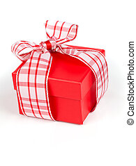 Single red gift box with ribbon, on white background.