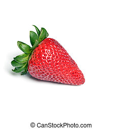 Single Red Ripe Strawberry